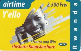 TARJETA DE RUANDA DE AIRTIME Y'ELLO DE 2500 FRW CADUCIDAD 01-12-2004 (RWANDA) - Rwanda