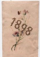 Carte De Voeux/Brins De Centaurées Avec Papillon Volant / 1898   CVE153 - Decorative Items