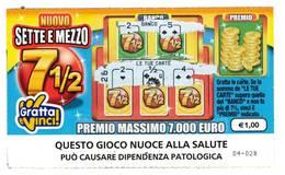 GRATTA E VINCI   - NUOVO SETTE E MEZZO  € 1.00 - USATO (SERIE STELLA NUOCE ALLA SALUTE) - Biglietti Della Lotteria