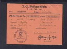 N.S. Volkswohlfahrt Reichsführung Mitgliedskarte Mainfranken Würzburg 30.07.1935 - Historische Dokumente