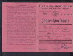 """DR Dt. Arbeiterfront N.S. Gem. """"Kraft Durch Freude""""/Sportamt Jahresportkarte Würzburg 1.5.1938 - Historische Dokumente"""