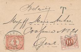 319/29 - Enveloppe Carte De Visite TP 1 Cent ( Port Local) IJZENDIJKE 1901 Vers GENT Belgie - Taxée 10 Cent à GAND - Periode 1891-1948 (Wilhelmina)