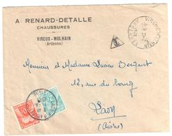 VIREUX MORLHAN Ardennes Lettre Entête Chaussure Tf  8/7/1947 6F Non Affranchie Taxe Double Insuffisance 12 F Yv T 76 82 - Taxes