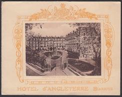 64 - BIARRITZ,  Hotel D'Angleterre -  Carton Publicitaire  (14 Cm X 11 Cm ) - Biarritz