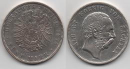 + ALLEMAGNE  + 5 MARK 1875 E + SAXE + TRES BELLE + - [ 2] 1871-1918 : German Empire