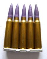 5 CARTOUCHES A BLANC DE 7,5 Mm Mle 1936 SUR LAME CHARGEUR. - Armes Neutralisées