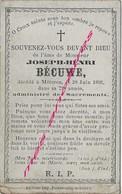 En 1892-Météren (59) Joseph  BECUWE Né En 1820 - Obituary Notices