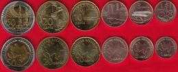 Azerbaijan Set Of 6 Coins: 1 - 50 Qəpik (qapik) 2006 UNC - Azerbaiyán