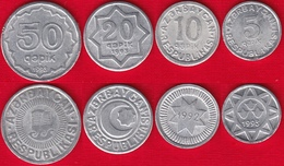 Azerbaijan Set Of 4 Coins: 5 - 50 Qəpik (qapik) 1992-1993 XF-UNC - Azerbaiyán