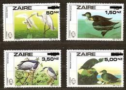 Zaire 1994 OCBnr. 1470-73 *** MNH  Cote 36 Euro Faune Oiseaux Vogels Birds  Surchargé - Zaire