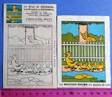2 PUBS.. SIROP GAIARSOL....LES ANIMAUX DE BENJAMIN RABIER......UNE FAMILLE DE CANARDS ET UN RENARD - Publicités