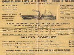 Mont Veyreir WW2 1939 French Boat Timetable Ship Guide - Tourism Brochures