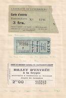 Casemates De Luxembourg Grotte De Han Crypte 3x WW2 Ticket S - Tourism Brochures