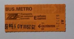 Ticket TCL Lyon (69/Rhône) - Bus Métro - Urbain Carnet E ( Années 80/90 ) - Bus