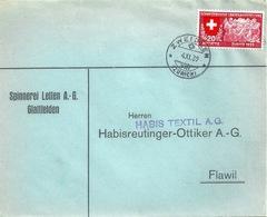 """Motiv Brief  """"Spinnerei Letten AG, Glattfelden""""  Zweidlen             1939 - Switzerland"""
