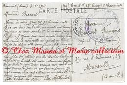 MAROC 1916 - 114 EME TERRITORIAL MATTEUDI TROUPES OCCUPATION TAMPON POSTE DE TAOURIRT - BROCART MARSEILLE CPA MILITAIRE - Guerre 1914-18