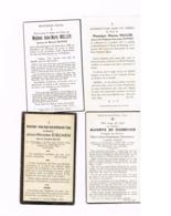Lot De 4 Faire-part De Décès.Wolkrange,Metzert,Hondelange,Ninove.Familles Muller,Eischen,De Dobbeleer. - Obituary Notices