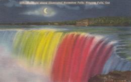 Postcard Moonlight Above Illuminated Horseshoe Falls Niagara Falls Ontario My Ref  B13410 - Niagara Falls