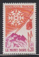 France 1961 MNH Sc 1002 20c Mont Dore, Snowflake, Cable Car - France