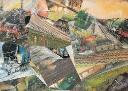 John Storey 14 X Railway Flying Scotsman Train Painting Postcard S - Photographs