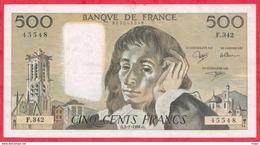 """500 Francs """"Pascal"""" Du 03/01/1991.O---XF/SUP+---Série F.342-AUCUN TROU D EPINGLE - 500 F 1968-1993 ''Pascal''"""