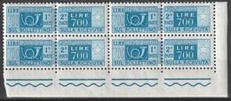 # Pacchi Postali 700 Lire Quartina D'angolo - Stelle 4° Tipo Gomma Arabica N. Sassone 100 - MNH ** - Pacchi Postali