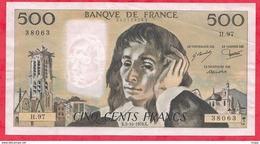 """500 Francs """"Pascal"""" Du 05/10/1978.K-----VF/SUP---Série H.97--AUCUN TROU D EPINGLE - 1962-1997 ''Francs''"""