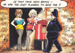 Policeman With New Paton As Private Parts By Pillar Box Comic Humour Postcard - Humour