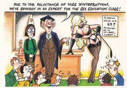 Sex Education Class Lessons Teacher Lessons 1980s Comic Humour Postcard - Humour