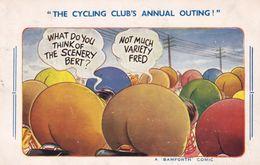 Bicycle Club Cycling Bikes Annual Outing Fat Bum Bamforth Comic Postcard - Humor