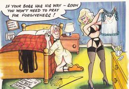 Boss By Sexy Lingerie Undewear Praying For Forgiveness Comic Humour Postcard - Humour