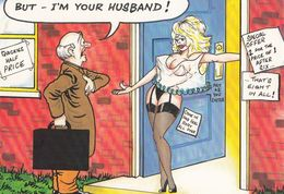 Confused Wife In Suspenders Forgets Her Husband Marriage Comic Humour Postcard - Humour