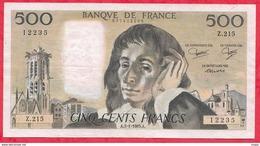 "500 Francs ""Pascal"" Du 03/01/1985.A ----VF/SUP-----ALPH .Z.215 - 1962-1997 ''Francs''"