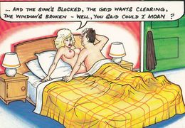 Moaning Moaner Moan Man With Wife In Bed Make Making Love Comic Humour Postcard - Humour