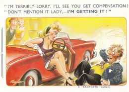 Lady Suspenders Red Classic Car Compensation Comic Humour Postcard - Humour