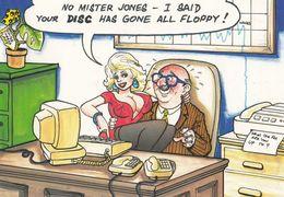 Floppy Disc Secretary Computer Mans Private Parts Growing Comic Humour Postcard - Humour