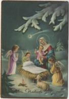 Cartolina Augurale Buon Natale Con La Natività E Angeli. Viaggiata 1965 - Kerstmis