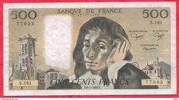 "500 Francs ""Pascal"" Du 06/01/1983.P ----F/TTB+-----ALPH .S.181 - 1962-1997 ''Francs''"