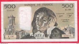 "500 Francs ""Pascal"" Du 02/06/1983.F ----F/TTB+-----ALPH .K.190 - 1962-1997 ''Francs''"