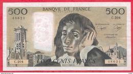 "500 Francs ""Pascal"" Du 05/01/1984.K ----F/TTB+-----ALPH .C.204 - 1962-1997 ''Francs''"