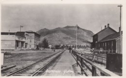 Carcross Yukon Canada, Railroad Tracks Station And Businesses, C1950s Vintage Postcard - Yukon