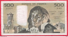 "500 Francs ""Pascal"" Du 05/07/1984.G ----F/TTB+-----ALPH .K.211 - 500 F 1968-1993 ''Pascal''"