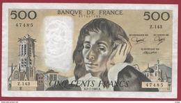"500 Francs ""Pascal"" Du 02/07/1981.B----F/TTB+---ALPH Z.143 - 1962-1997 ''Francs''"