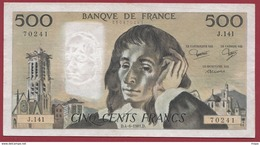"500 Francs ""Pascal"" Du 04/06/1981.D----F/TTB+---ALPH J.141 - 1962-1997 ''Francs''"