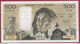 """500 Francs """"Pascal"""" Du 05/01/1983.O----F/TTB+---ALPH T.180 - 1962-1997 ''Francs''"""