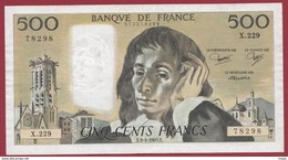 "500 Francs ""Pascal"" Du 03/041985.E ----F/TTB+--ALPH.X.229 - 1962-1997 ''Francs''"