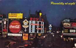 Postcard Advertising Piccadilly Circus London Coca Cola Bovril Schweppes Dunlop Wrigley's Gum Etc My Ref  B13417 - Advertising