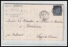 LAC Lettre Cover France 1477 Rhone Sage N°90 Lyon LES TERREAUX Pour BOURDON Aulnat Puy De Dome 4/2/1881 - Postmark Collection (Covers)