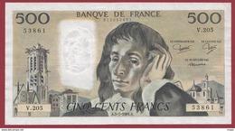 """500 Francs """"Pascal"""" Du 05/07/1984.A ----F/TTB+--ALPH.V.205 - 1962-1997 ''Francs''"""