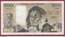 """500 Francs """"Pascal"""" Du 05/01/1984.D ----F/TTB+--ALPH.V.198 - 1962-1997 ''Francs''"""